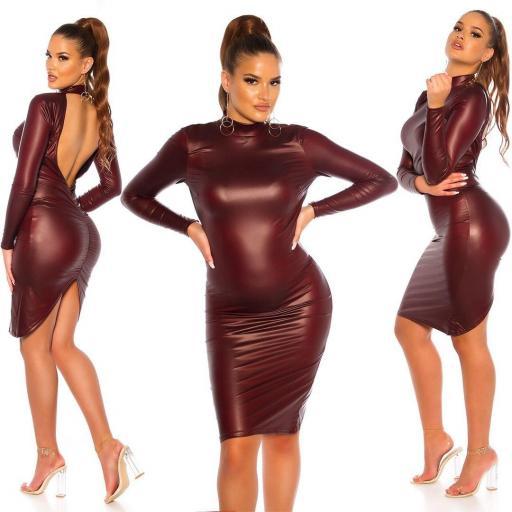 Vestido espalda desnuda ajustado burdeos [3]