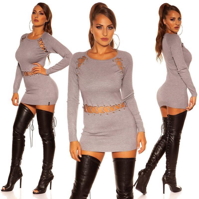 Vestido corto de punto gris cordones