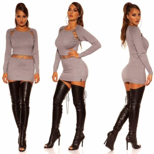 Vestido corto de punto gris cordones [2]