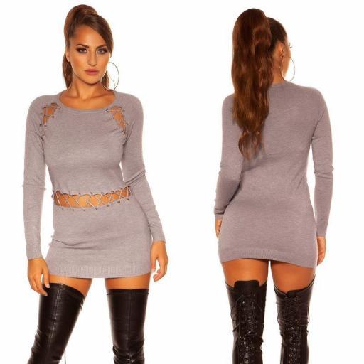 Vestido corto de punto gris cordones [3]