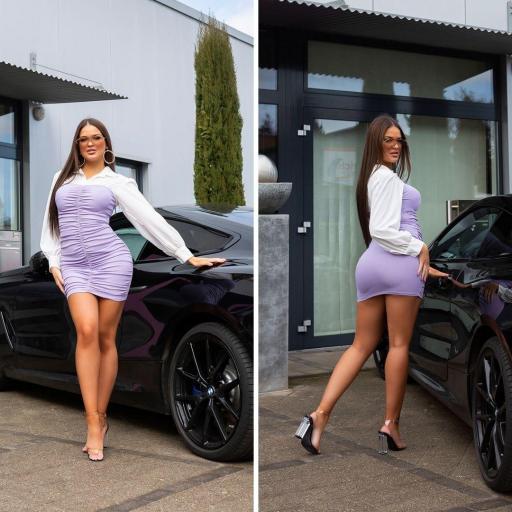 Vestido ajustado bicolor 2 en 1 lila