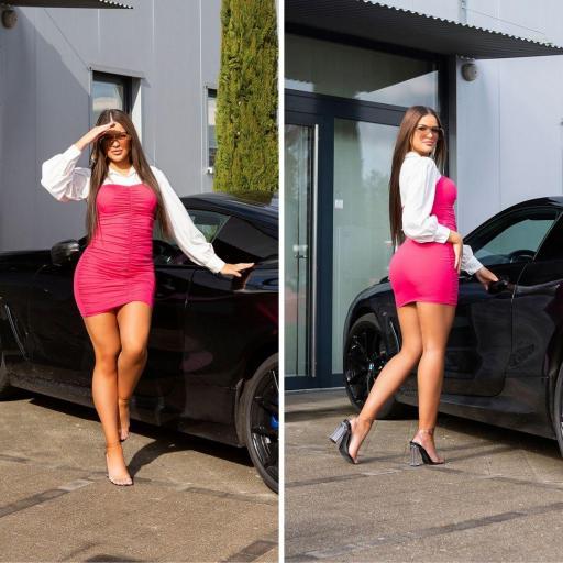 Vestido ajustado bicolor 2 en 1 rosa