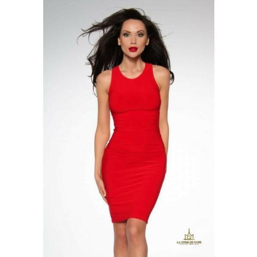 Vestido elástico ajustado rojo [1]