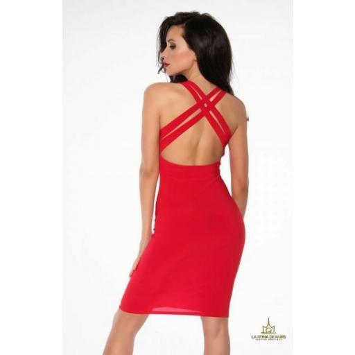 Vestido elástico ajustado rojo [2]