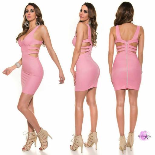 Vestido corto rosa escote sexy [2]