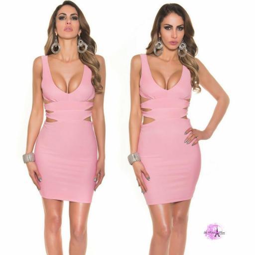 Vestido corto rosa escote sexy [3]