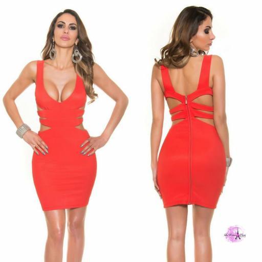 Vestido corto rojo escote sexy [0]