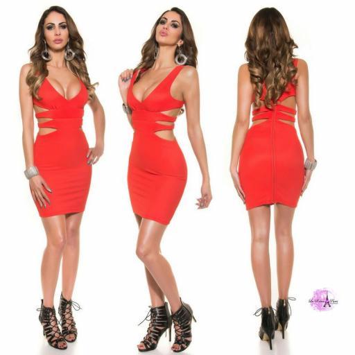 Vestido corto rojo escote sexy [1]