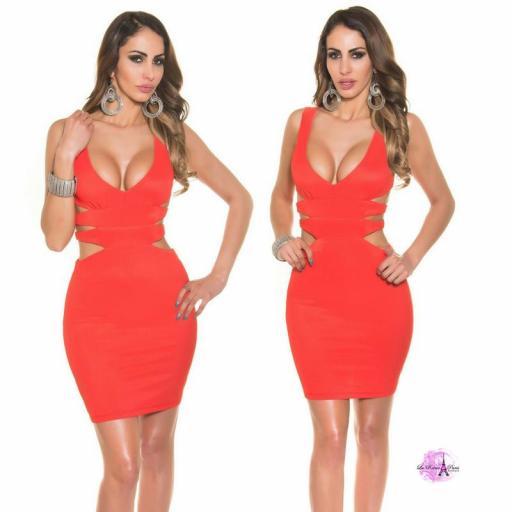 Vestido corto rojo escote sexy [3]