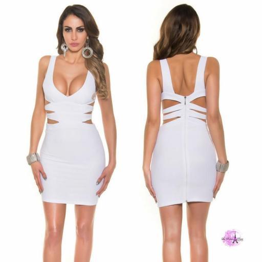 Vestido corto blanco escote sexy [0]