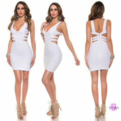 Vestido corto blanco escote sexy [1]