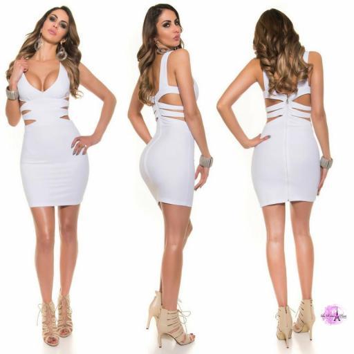 Vestido corto blanco escote sexy [2]