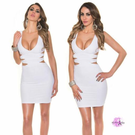 Vestido corto blanco escote sexy [3]