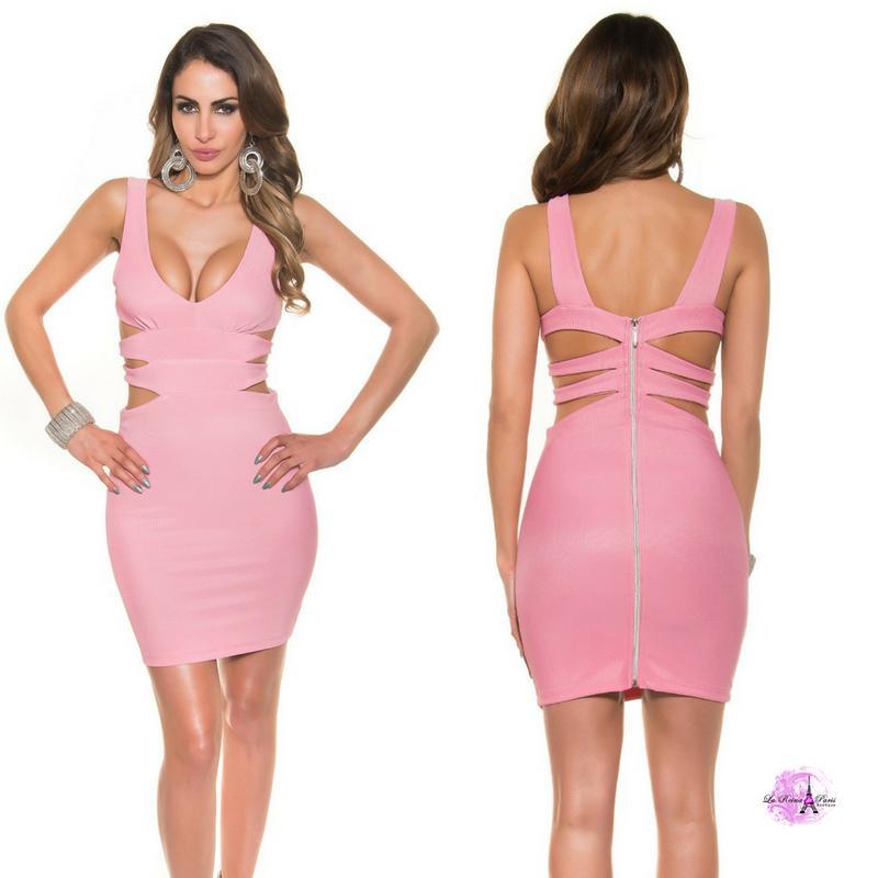 Vestido corto rosa escote sexy
