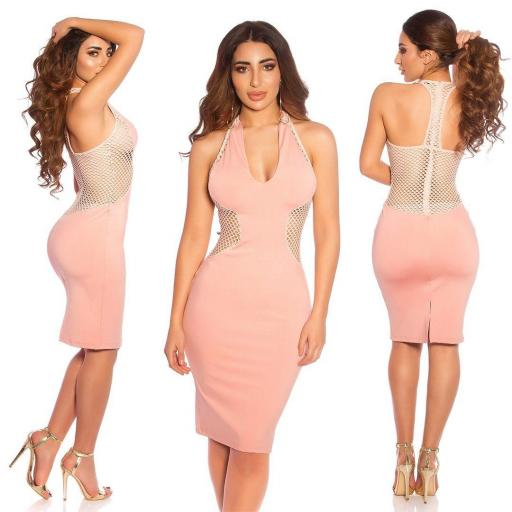 Vestido cóctel de malla rosa