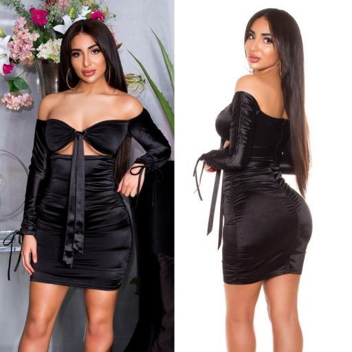 Vestido negro satinado fruncido  [2]