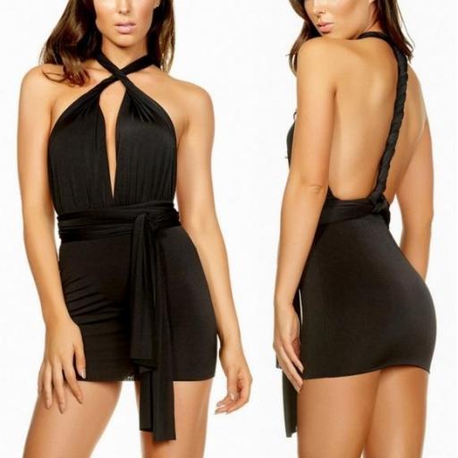 Mini vestido con tirantes versátiles [0]