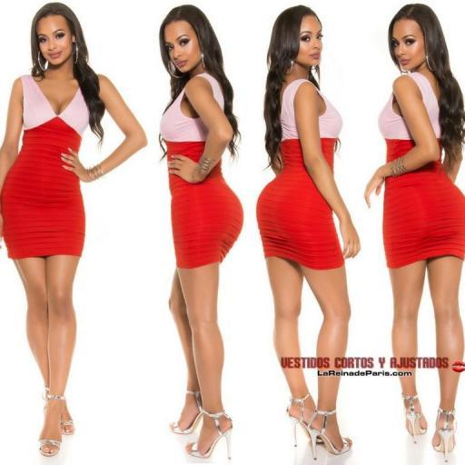 Elegante vestido ceñido Bicolor Rojo