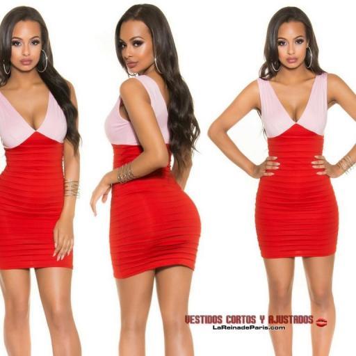 Elegante vestido ceñido Bicolor Rojo  [1]