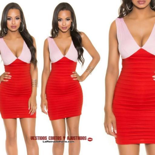 Elegante vestido ceñido Bicolor Rojo  [2]