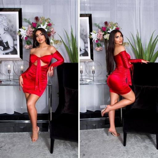 Vestido rojo satinado fruncido  [2]