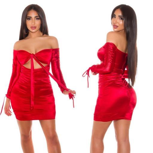 Vestido rojo satinado fruncido  [1]