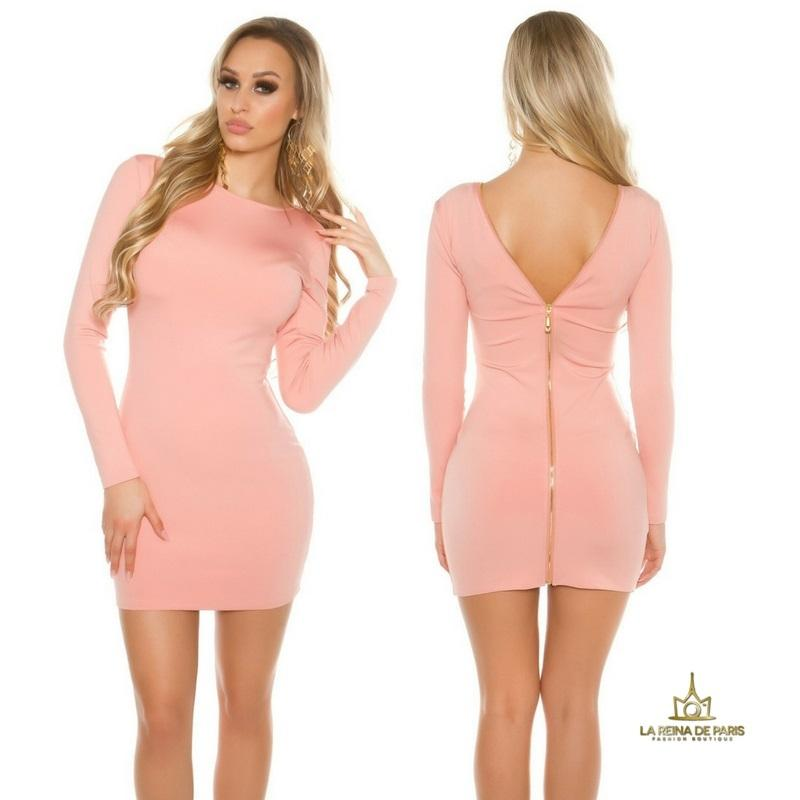 Vestido rosa con cremallera trasera