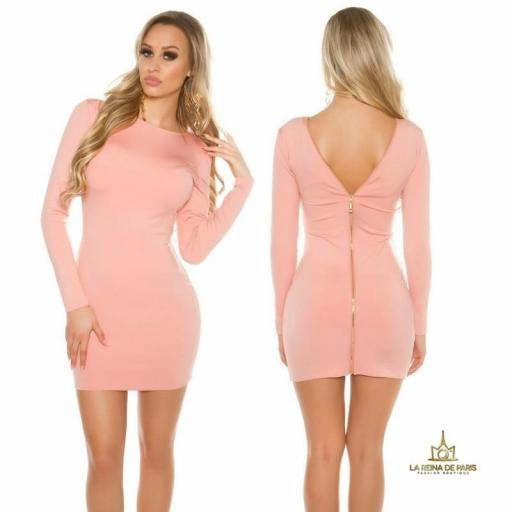 Vestido rosa con cremallera trasera   [0]