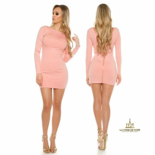 Vestido rosa con cremallera trasera   [1]