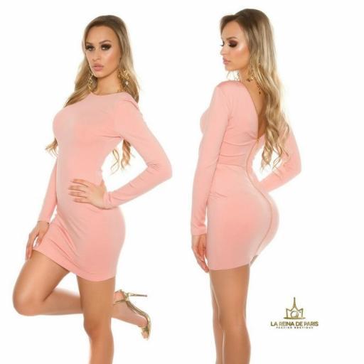 Vestido rosa con cremallera trasera   [2]