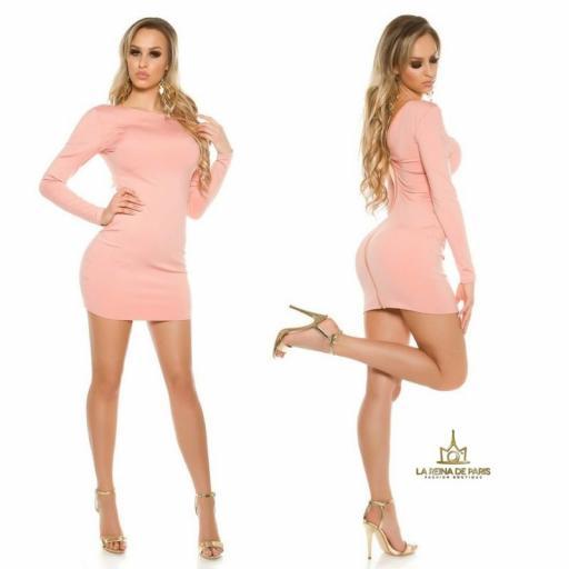 Vestido rosa con cremallera trasera   [3]