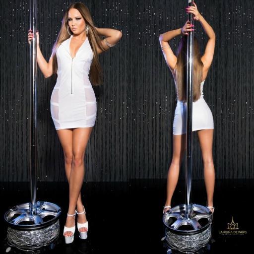 Mini vestido blanco transparente sensual