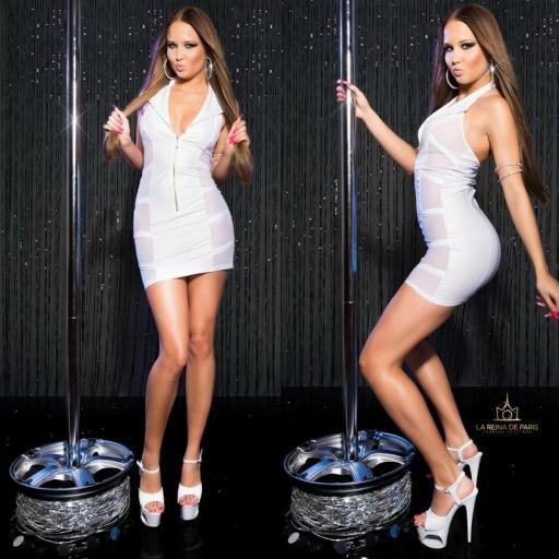 Mini vestido blanco transparente sensual [1]