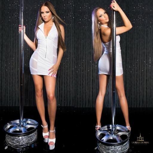 Mini vestido blanco transparente sensual [2]