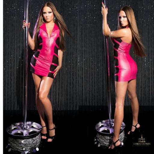 Mini vestido fucsia transparente sensual