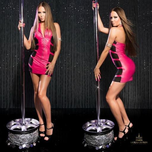 Mini vestido fucsia transparente sensual [1]