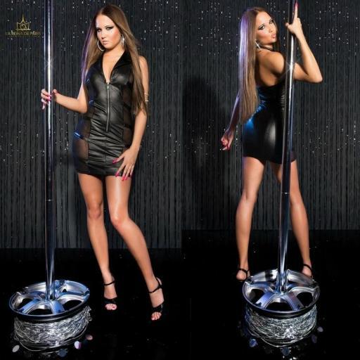 Mini vestido negro transparente sensual