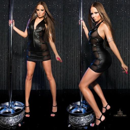 Mini vestido negro transparente sensual [1]