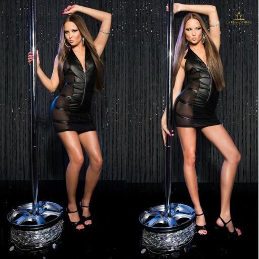Mini vestido negro transparente sensual [2]