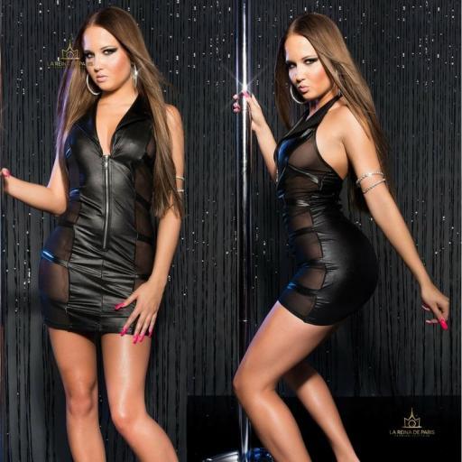Mini vestido negro transparente sensual [3]