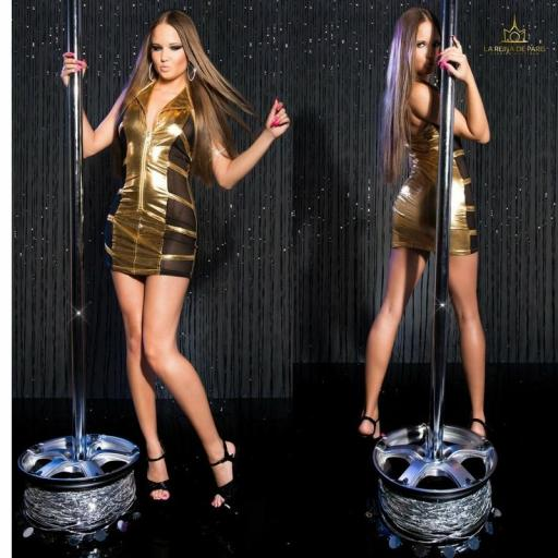 Mini vestido oro transparente sensual [2]
