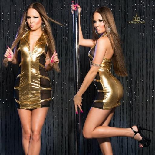 Mini vestido oro transparente sensual [3]