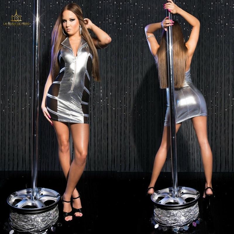 Mini vestido plata transparente sensual