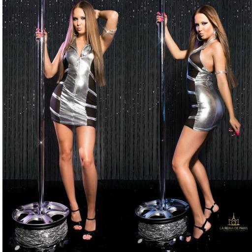 Mini vestido plata transparente sensual [2]