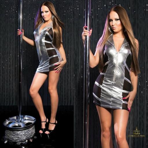 Mini vestido plata transparente sensual [3]