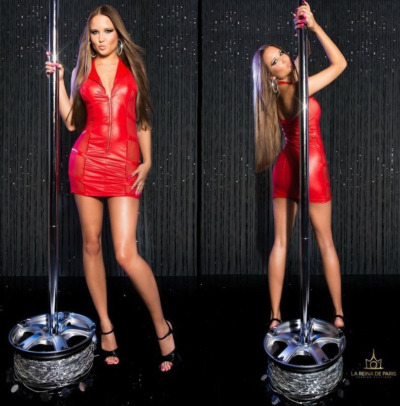 Mini vestido rojo transparente sensual