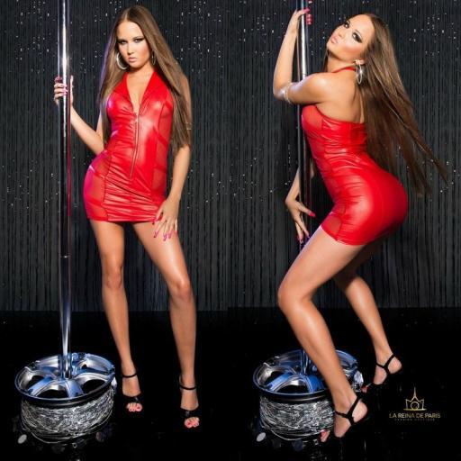 Mini vestido rojo transparente sensual [1]
