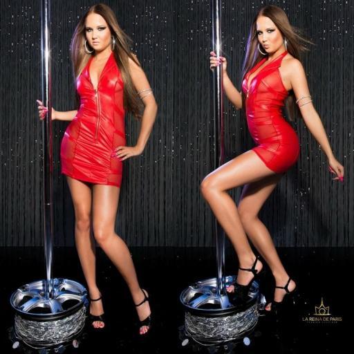 Mini vestido rojo transparente sensual [2]