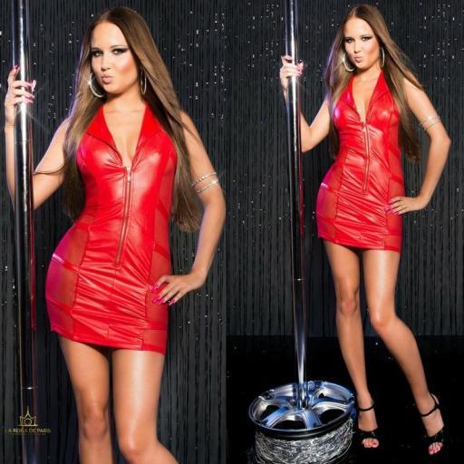 Mini vestido rojo transparente sensual [3]