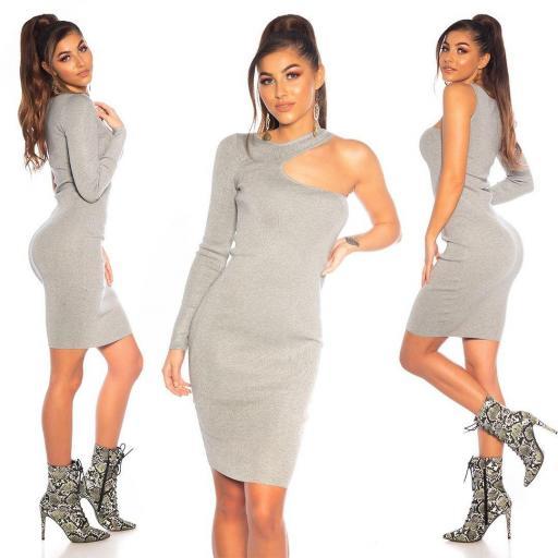 Vestido gris ajustado hombro estilo